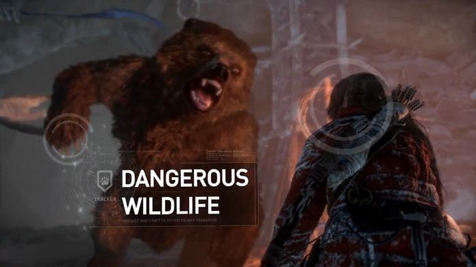 Lara Croft terá que enfrentar diversos animais selvagens para sobreviver em Rise of the Tomb Raider (Foto: Reprodução/YouTube)