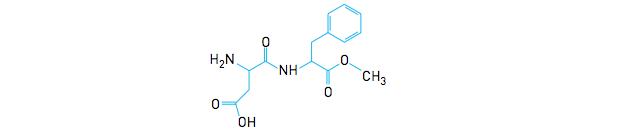 Carbonos quirais na molécula do aspartame (Foto: Reprodução/UERJ)