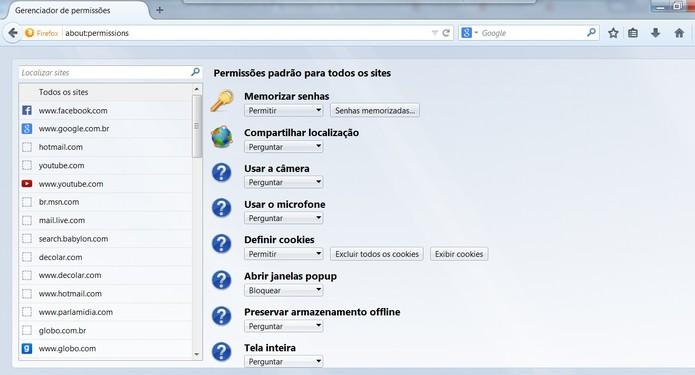 about:permissions exibe informações específicas de sites em um só lugar (Foto: Reprodução/Mozilla)