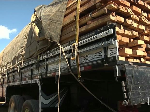 Quantidade de madeira transportada no caminhão não constava na nota fiscal (Foto: Reprodução/TV Mirante)