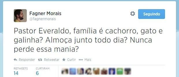 Ao dar ênfase na família em suas falas, Pastor Everaldo lembrou internautas de canção dos Titãs (Foto: Reprodução/Twitter/fagnermorais)