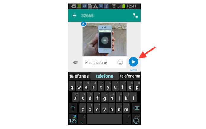 Enviando uma imagem salva na biblioteca do Android através do aplicativo Messenger do Google (Foto: Reprodução/Marvin Costa)