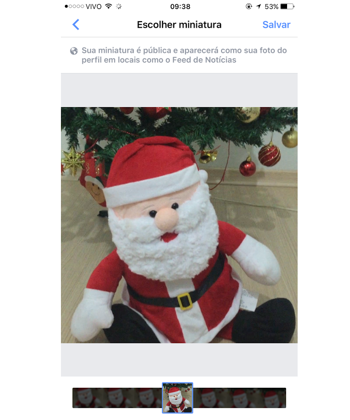 Escolhendo trecho da foto de perfil em vídeo para o Facebook (Foto: Aline Jesus/Reprodução)