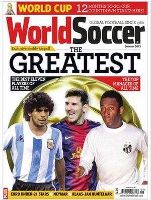 Reprodução capa revista world soccer the greatest Pelé maradona messi (Foto: Reprodução World Soccer)