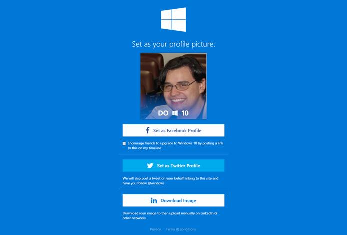 Site permite escolher qual em rede social a foto será postada (Foto: Reprodução/Twibbon)