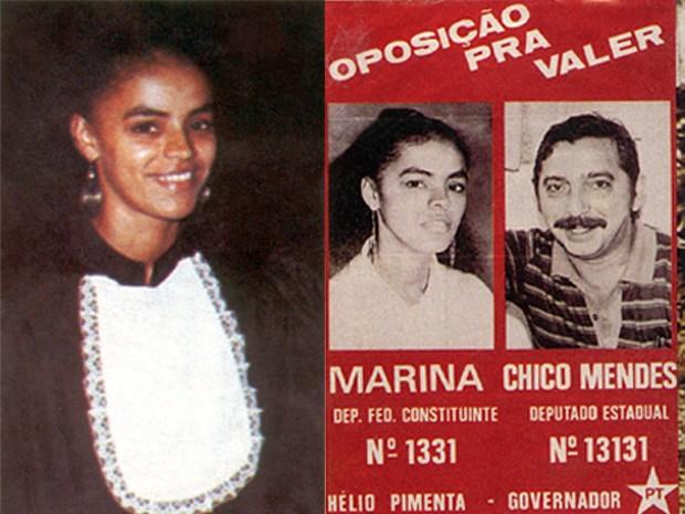 À esquerda, Marina Silva ao se formar em História em 1984; à direita, Marina em panfleto de campanha para deputada federal ao lado de Chico Mendes (Foto: Divulgação)