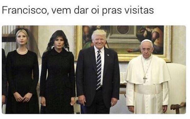 Um dos memes que tiram sarro do encontro pouco animado da família Trump com o Papa Francisco (Foto: Instagram/Reprodução)