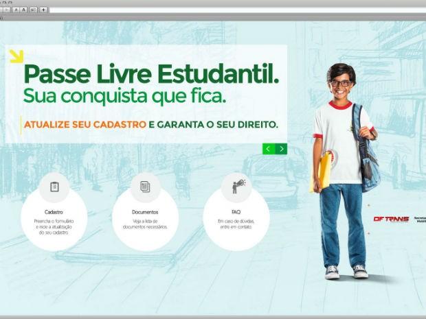 Tela do novo site do Passe Livre Estudantil; endereço entra no ar em 1º de março (Foto: Secretaria de Mobilidade/Reprodução)