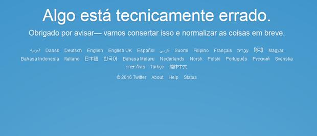 Mensagem avisa do problema no Twitter (Foto: Reprodução)