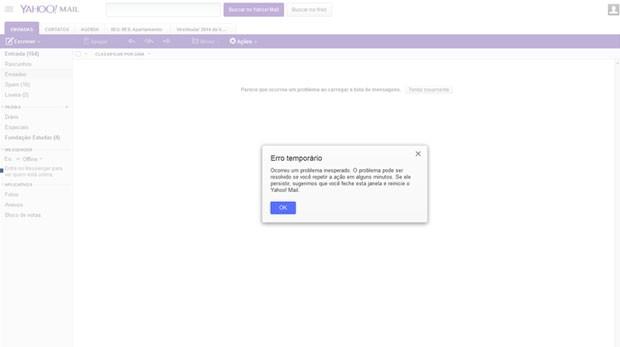 Servio de e mails do yahoo fica fora do ar para alguns usurios problema no yahoo mail faz apresentar tela que avisa de erro temporrio usurios no podem stopboris Images