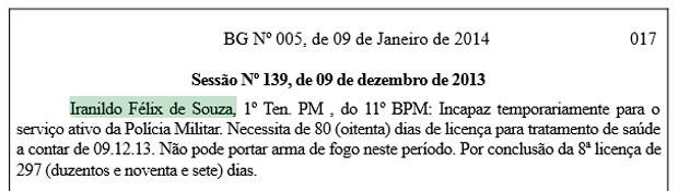 Trecho do Boletim Geral da PM que trata da licença médica do tenente Iranildo Félix (Foto: Reprodução)