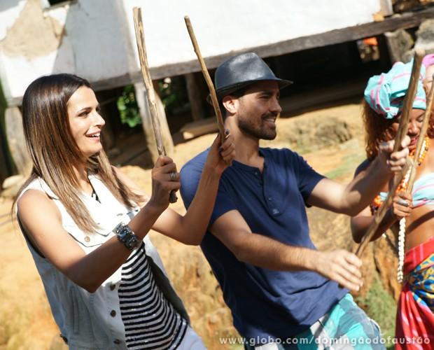 Fernanda Motta e Ricardo Pereira (Foto: Domingão do Faustão / TV Globo)