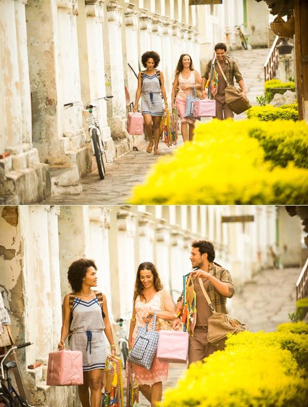 Virgílio (Nando Rodrigues), Neidinha (Jéssica Barbosa) e Maria (Cyria Coentro) vão a Esperança vender artesanato na segunda fase de Em Família (Foto: João Miguel JR./Globo)