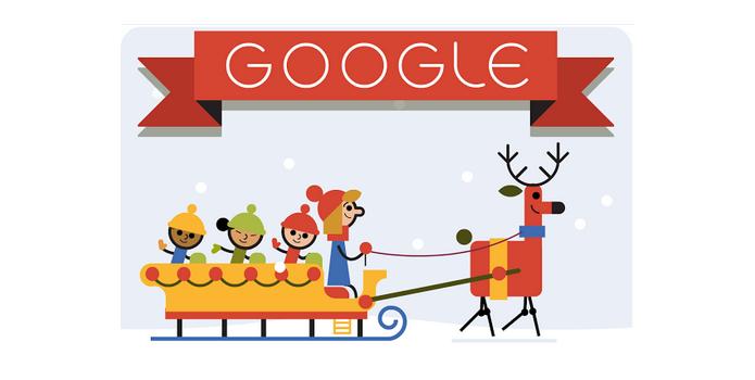 Doodle de Natal deste ano traz crianças em trenó puxado por rena (Foto: Reprodução/Paulo Alves)