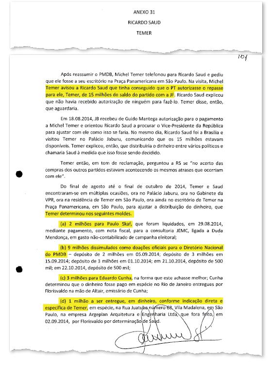 O lobista Ricardo Saud descreve a propina entregue a Michel Temer (Foto: Reprodução )