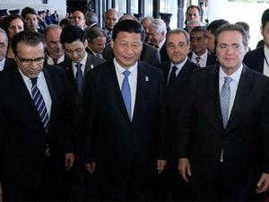 O presidente da República Popular da China, Xi Jinping, ao chegar ao Congresso (Foto: Felipe Néri / G1)