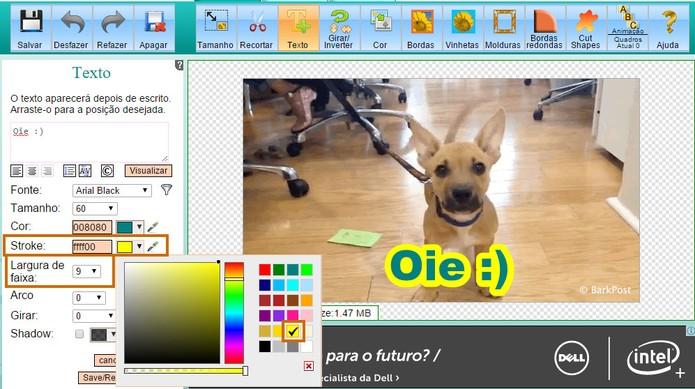 Personalize a cor e a espessura da borda no texto do GIF (Foto: Reprodução/Barbara Mannara)