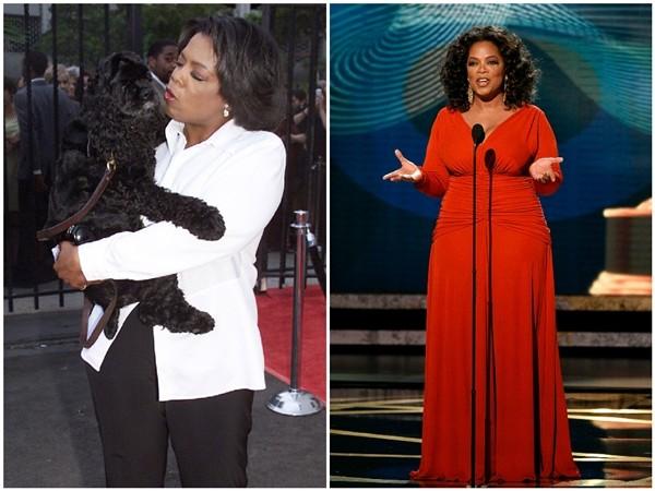 Oprah Winfrey em 2000 e 2008 (Foto: Getty Images)