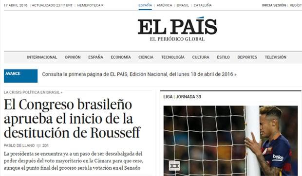O site do jornal espanhol El País também destacou a abertura do processo (Foto: Reprodução/El País)
