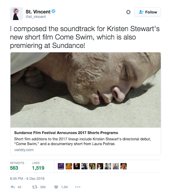 St. Vincent anunciou que fez a trilha do curta de Kristen Stewart (Foto: Twitter)