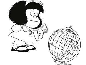 Mafalda, de Quino está em lugar destacado na exposição no Espaço Cultural Renato Russo (Foto: Reprodução/Quino)
