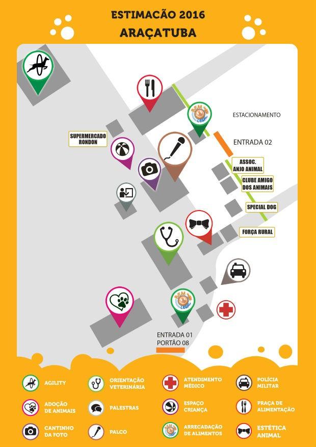 Confira o mapa do evento, que será realizado no Recinto de Exposições Clibas de Almeida Prado (Foto: Divulgação)