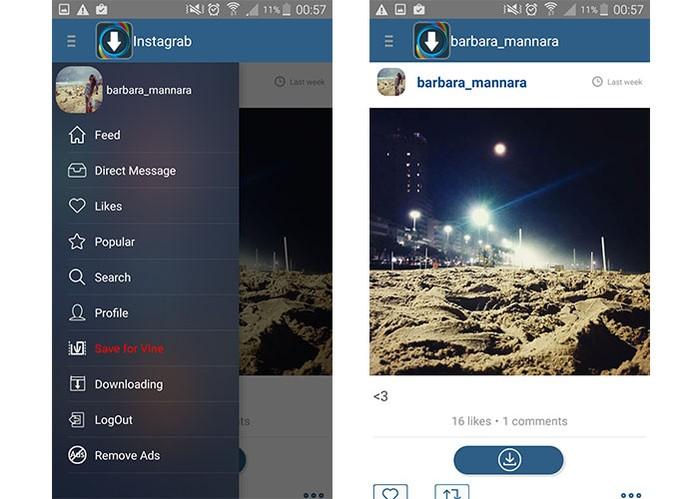 App iGrab tem botão direto para download de mídias do Instagram (Foto: Reprodução/Barbara Mannara) (Foto: App iGrab tem botão direto para download de mídias do Instagram (Foto: Reprodução/Barbara Mannara))