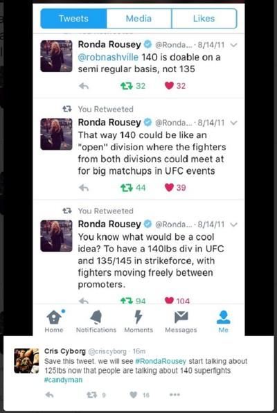 tweets Ronda Rousey, Cris Cyborg (Foto: Reprodução/Twitter)