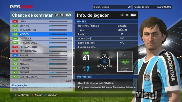 Jogador do Grêmio carece de habilidades em PES 2016 (Foto: Reprodução/Murilo Molina)