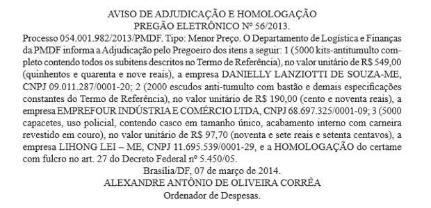 Trecho do Diário Oficial do DF com informações sobre o pregão para compra dos kits antitumulto pela PM (Foto: Diário Oficial do DF/Reprodução)