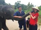 Marina Ruy Barbosa anda de elefante na Tailândia: 'Imagina alguém feliz'
