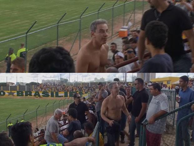 O ex-senador Luiz Estevão, na última aparição pública antes da prisão em Brasília, no jogo entre Brasiliense e Gama (Foto: TV Globo/Reprodução)