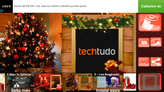 Aplicativo aplica filtros e faz montagens de Natal com suas fotos (Foto: Reprodução/Barbara Mannara)
