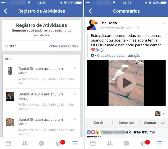 Toque nos resultados exibidos para rever os vídeos e comentar, curtir ou compartilhar (Foto: Reprodução/Daniel Ribeiro)