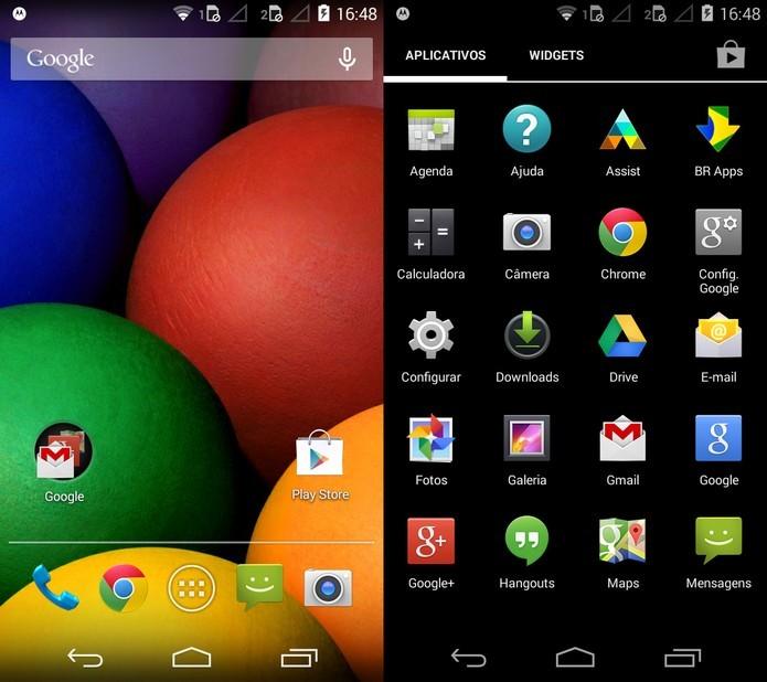 Moto E traz Android 4.4.3 KitKat com interface bastante limpa e poucas personalizações (Foto: Reprodução/Laura Rezende)