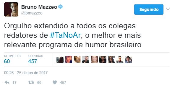 Bruno Mazzeo comenta reestreia de Tá no Ar. (Foto: Reprodução/Twitter)