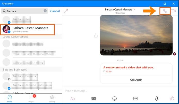 Inicie uma chamada de áudio com seu contato do Messenger pelo Windows 10 (Foto: Reprodução/Barbara Mannara)