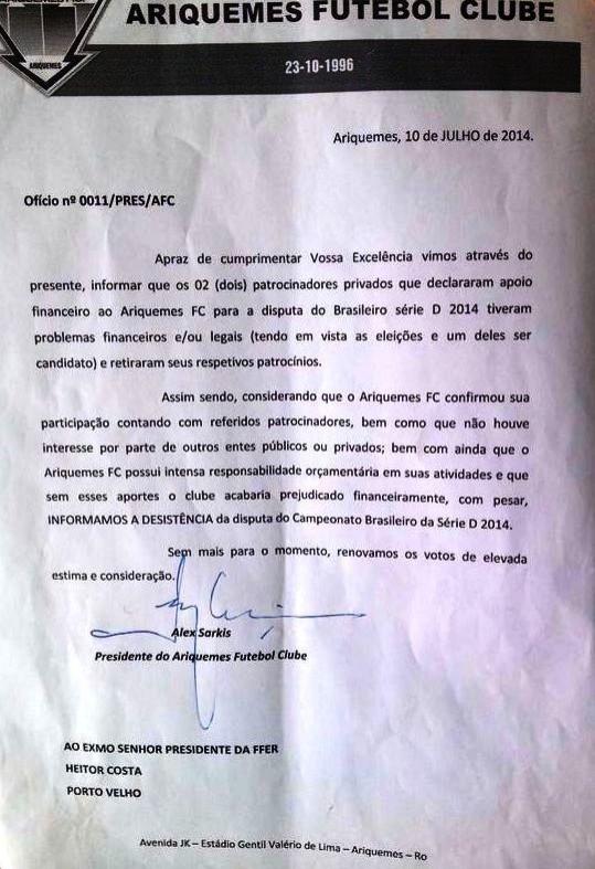 Ofício de desistência do Ariquemes (Foto: Divulgação/Ariquemes)