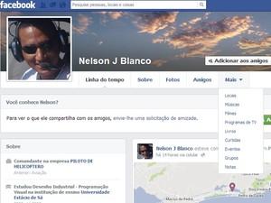 Nelson Blanco, de 33 anos, morreu na queda da aeronave (Foto: Reprodução / Facebook)