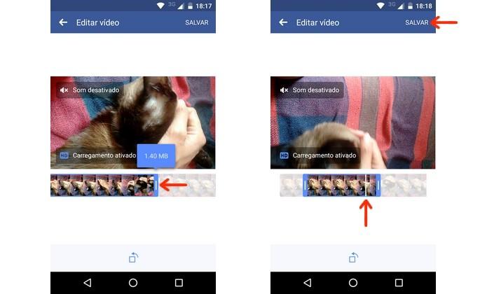 Vídeo sendo cortado no app do Facebook para Android (Foto: Reprodução/Raquel Freire)