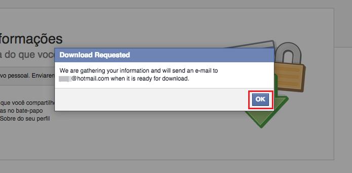 Ao clicar em Abrir meu arquivo, o Facebook vasculha suas informações, fotos, vídeos, publicações e conversas para salvar e lhe mandar no seu e-mail pessoal (Foto: Reprodução/Paulo Finotti)