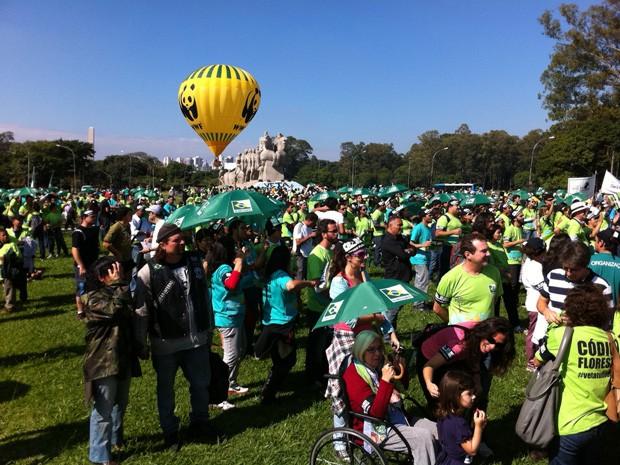 Centenas de manifestantes estavam reunidos por volta das 10h40 deste domingo (20) no Parque Ibirapuera, na Zona Sul de São Paulo, em protesto contra o novo Código Florestal aprovado pelos deputados federais em abril. Ele pedem que a presidente Dilma Rouss (Foto: Márcio Pinho/G1)