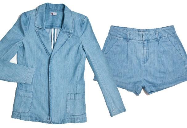 Conjunto shorts e blazer jeans (Foto: Divulgação)