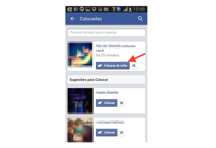 Verificando cutucadas e cutucando um contato de volta no Facebook pelo Android (Foto: Reprodução/Marvin Costa)