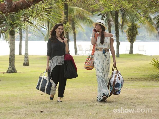 Giovanna e Tainá rodam cenas de Clara e Marina (Foto: Felipe Monteiro/ TV Globo)