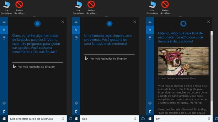Cortana pode dar dicas sobre que fantasia usar no Halloween (Foto: Reprodução/Elson de Souza)