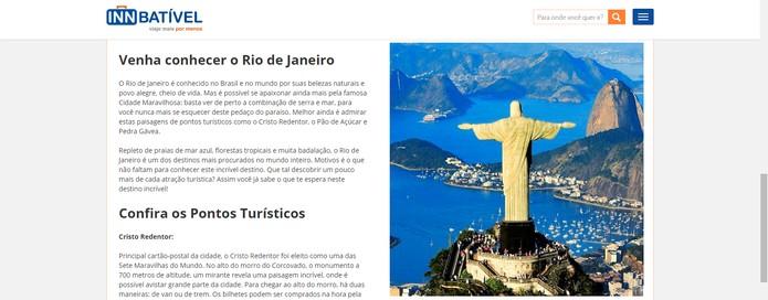 INNbatível reúne informações sobre pontos turísticos  (Foto: Reprodução/INNbatível)