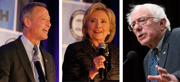 Martin O'Malley, Hillary Clinton e Bernie Sanders, pré-candidatos democratas à presidente dos EUA (Foto: Associated Press)