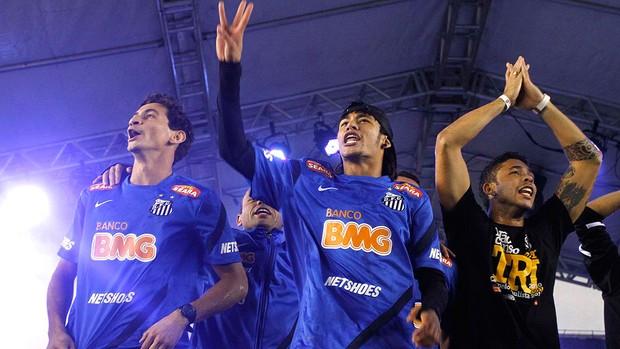Santos, Festa do Título, Neymar e Ganso (Foto: Gustavo Tilio)