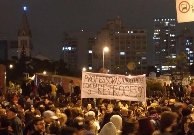 Manifestantes se reúnem no Largo da Batata, em Pinheiros, em dia de greve geral em São Paulo (Foto: Barbara Bigarelli/Editora Globo)
